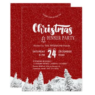Cartão Festa de Natal de queda branca vermelha rústica da