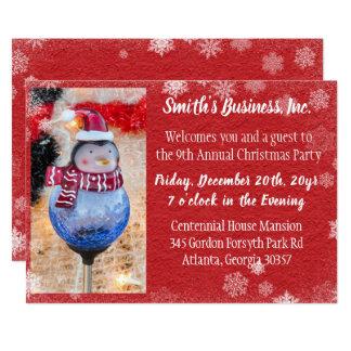 Cartão Festa de Natal de Vermelho Inverno Foto Empresa