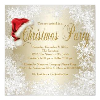 Cartão Festa de Natal do floco de neve do chapéu do papai