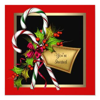 Cartão Festa de Natal do vermelho do azevinho do bastão