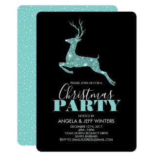 Cartão Festa de Natal dos cervos do brilho do falso do