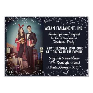 Cartão Festa de Natal incorporada da foto clara de prata