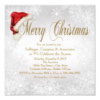Cartão Festa de Natal incorporada do floco de neve do