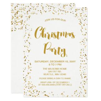 Cartão Festa de Natal moderna dos confetes do branco e do