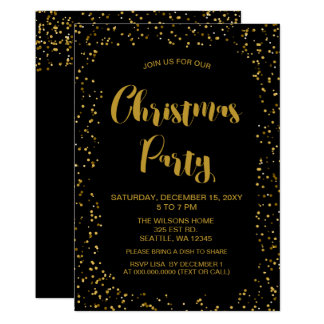 Cartão Festa de Natal moderna dos confetes do preto e do