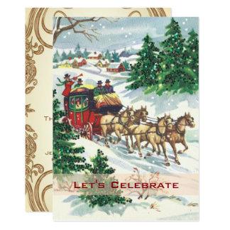 Cartão Festa de Natal retro do feriado do Victorian do