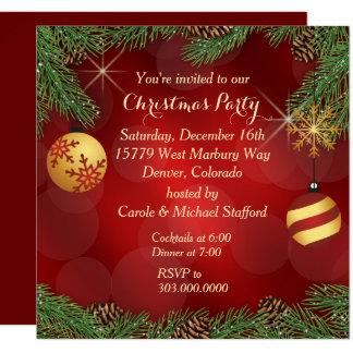 Cartão Festa de Natal vermelha elegante do ouro