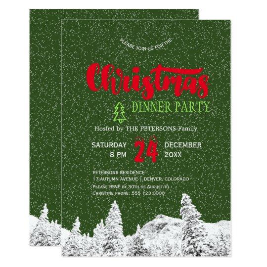 Cartão Festa de Natal vermelha verde de queda rústica da