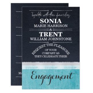 Cartão Festa de noivado azul do casamento do Aqua da