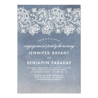 Cartão Festa de noivado azul empoeirada do laço do