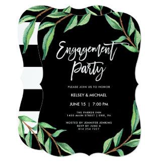 Cartão Festa de noivado botânica listrada de |