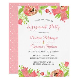 Cartão Festa de noivado cor-de-rosa coral do jardim do