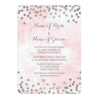 Cartão Festa de noivado cor-de-rosa dos confetes da prata