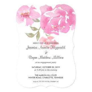 Cartão Festa de noivado cor-de-rosa floral das peônias da