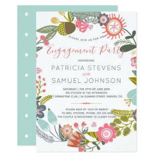 Cartão Festa de noivado da grinalda dos wildflowers do