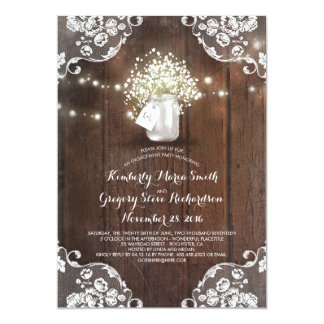Cartão Festa de noivado da madeira do celeiro do frasco