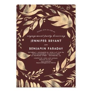 Cartão Festa de noivado da queda das folhas de Borgonha e