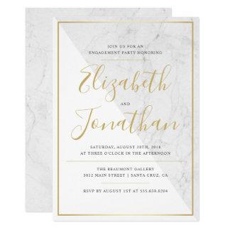 Cartão Festa de noivado de mármore chique na moda da