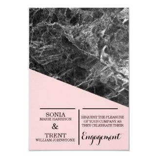 Cartão Festa de noivado de mármore moderna geométrica
