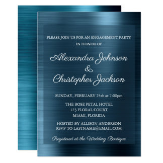 Cartão Festa de noivado do casamento dos azuis marinhos