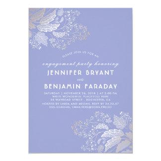 Cartão Festa de noivado do roxo da lavanda da folha do