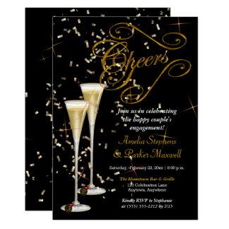 Cartão Festa de noivado dourada dos elogios de Champagne