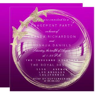 Cartão Festa de noivado dourada roxa do casamento da