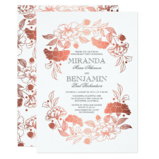 Cartão Festa de noivado elegante da grinalda floral