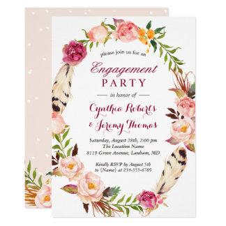 Cartão Festa de noivado floral chique boémia da grinalda
