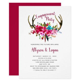 Cartão Festa de noivado floral cor-de-rosa brilhante