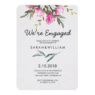 Cartão Festa de noivado floral da aguarela da magnólia
