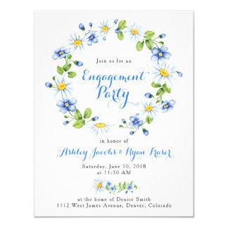 Cartão Festa de noivado floral da margarida branca azul