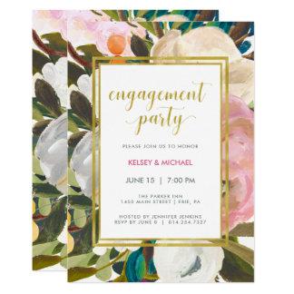 Cartão Festa de noivado floral delicada da aguarela