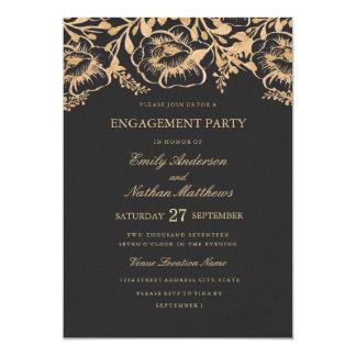 Cartão Festa de noivado floral do casamento do ouro do