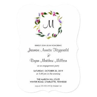 Cartão Festa de noivado floral do monograma da grinalda