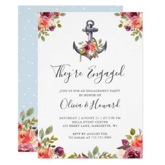 Cartão Festa de noivado floral do nó da âncora náutica