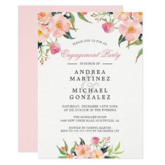 Cartão Festa de noivado floral do rosa elegante da