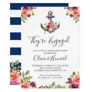 Cartão Festa de noivado floral dos azuis marinhos da