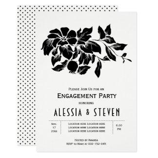 Cartão Festa de noivado floral preto e branco do