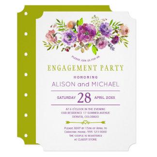 Cartão Festa de noivado floral rústica roxa do verde