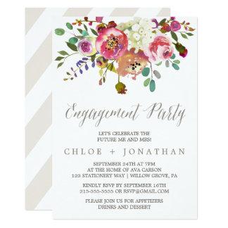 Cartão Festa de noivado floral simples do buquê da