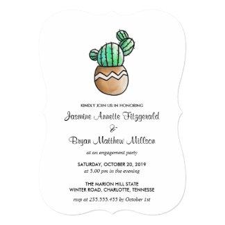 Cartão Festa de noivado mínima rústica do cacto do