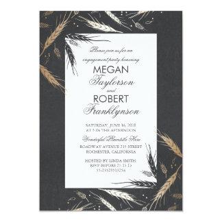 Cartão Festa de noivado moderna rústica da queda do trigo