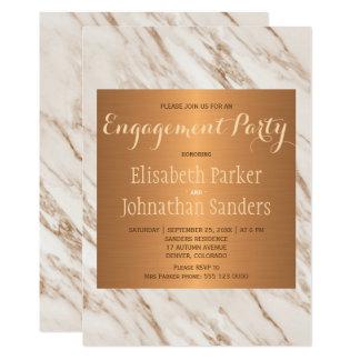 Cartão Festa de noivado na moda de mármore metálica de