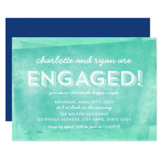 Cartão Festa de noivado rolada turquesa da tinta do Aqua