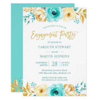 Cartão Festa de noivado romance floral do ouro de