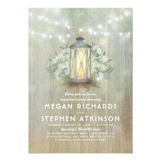 Cartão Festa de noivado rústica da lanterna e da