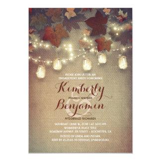 Cartão Festa de noivado rústica da queda das folhas e dos