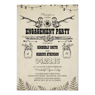 Cartão Festa de noivado rústica das botas de vaqueiro do