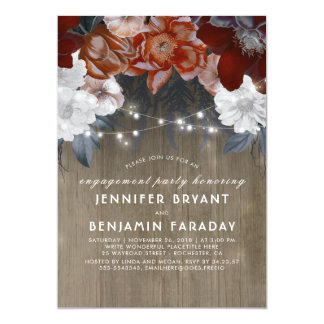 Cartão Festa de noivado rústica das luzes florais da